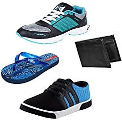 Bersache Men Combo Pack of 4 Sports Shoe With Flip-Flops,Wallet & Casual Shoes (6 UK)