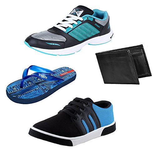 Bersache Men Combo Pack of 4 Sports Shoe With Flip-Flops,Wallet & Casual Shoes (10 UK)