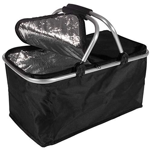 Smartfox Faltbarer Thermo Einkaufskorb Picknickkorb Kühlkorb Kühltasche Thermokorb 10 kg in schwarz