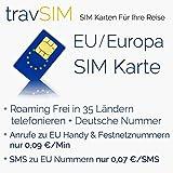 Europa SIM Karte (35 Länder der EU / Europas) + 50 Euro Guthaben - Standard & Micro SIM - EU Prepaid SIM Karte