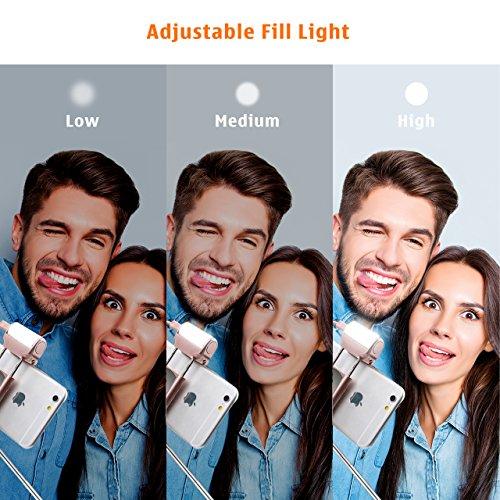 Mpow® Bluetooth-Selfie-Stick mit integrierter Fernbedienung, LED-Aufhellungslicht und Spiegel, um 270Grad verstellbar, ideal für iPhone 7/6S / 6 / 6 plus, HTC, LG G5, Moto X/G und die meisten Mobiltelefone - 5
