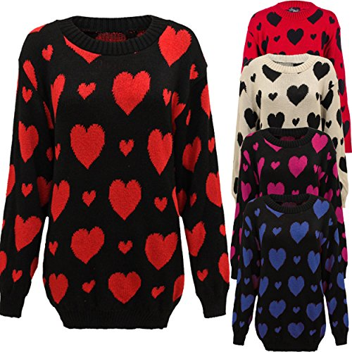 Missmister Womens Ladies Winter Knitted Jumper Pullover Sweater Top Heart Print Plus Sizes 16 18 20 22 24 26