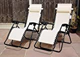 SET OF 2 GARDEN GRAVITY SUN LOUNGER FOLDING SUN BED RELAXING RECLINING CHAIRS (Natural)