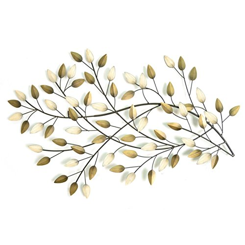 Stratton Home shd0062 weht Leaves Wand Decor, beige, weiß und braun, 2,5 cm D x 81,3 cm W x 50,8 cm H - Leaf Wand