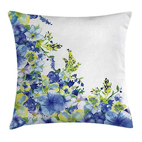 ERCGY Watercolor Flower House Decor Throw Pillow Cushion Cover, Motley Floret Motifs Splash Anemone Iris Revival Theme, Decorative Square Accent Pillow Case, 18 X 18 Inches, Blue ()