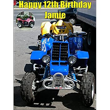 A4 Size Quad Bike ATV All Terrain Vehicle Birthday Cake Toppers Decorations Personalised On Edible Rice