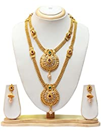Swarajshop Copper Gold-Plated Green Maroon Colour Gold Plated Haram Necklace with Earrings Jewellery Set for Women's