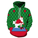 FGVBWE4R Divertente Natale Babbo Natale WC 3D Print Jacket Uomo/Donna Streetwear Hoodies Hood Felpe Ragazzi Green Tute Outwear-Come Immagine Mostra, L