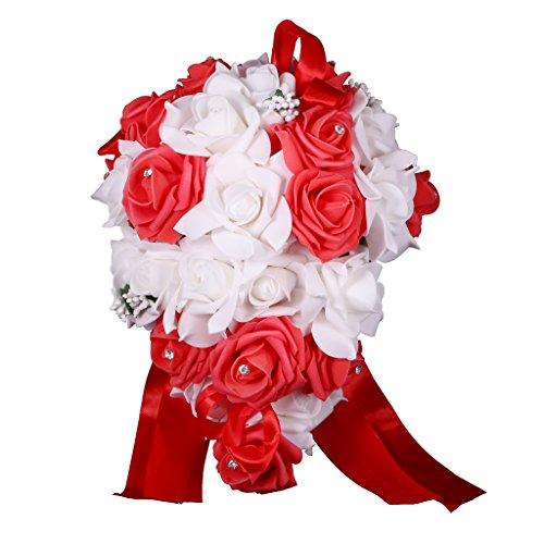 Prettyia sposa sposa damigelle schiuma fiore rosa cascata bouquet da sposa con cristalli - bianca rosso