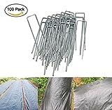 MJS® Lote de 100Pcs piquetas de fijación de jardín en forma de U 150mm longitud–Ideal para fijación de tejidos bàche lienzo Huerta y malezas, alfombra de suelo y telas de paisaje