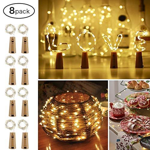 MANLI Flaschenlicht LED 2M 20 Chips Kupferdraht Lampe 8 Stücke Weinflasche Lichter Kork Sternenlichterketten Kupfer Lichterkette für Flasche DIY Party Dekoation Weihnachten Hochzeit Halloween Warmweiß
