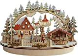 LED - Schwibbogen Lichterbogen Leuchter Oval Weihnachtsmarkt mit innenbeleuchtetem Marktstand Natur/farbig aus Holz Größe: 45x16x27 cm Weihnachten Advent Geschenk