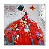 World Art TW60078 Dipinto su telaio estetico Donna Con Farfalle, Legno, 100x100x3.5 Cm