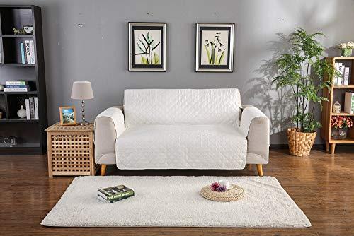 YZT QUEEN rutschfeste wasserdichte Sofabezug, Haustier Schutzhülle Möbel Set, Reversible Gesteppte Möbel Set, Hund/Katze Sofabezug,beige,1seat -
