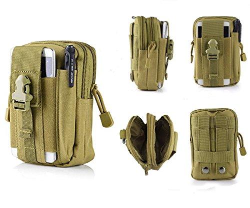 Tactical Pouch, Vdealen Edc Utility gadget borsa cintura in vita con cellulare telefono supporto per iPhone 876S Plus 5S Samsung Galaxy S7S6LG HTC e altri, adatto per jogging, trekking, campeggio, Khaki