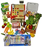 Elfenstall Kaufladen Zubehör Set | Registrier-Kasse, Lebensmttel & Spielgeld | Fisch Eier Tee-Beutel Gemüse, Obst & Mehr | Scheine & Münzen | Einkaufsladen | Geschenk für Kinder