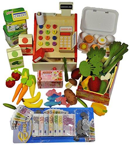 Elfenstall Kaufladen Zubehör Set   Registrier-Kasse, Lebensmttel & Spielgeld   Fisch Eier Tee-Beutel Gemüse, Obst & Mehr   Scheine & Münzen   Einkaufsladen   Geschenk für Kinder