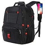 E-MANIS Laptop Rucksack Herren 17.3 Zoll Wasserdicht USB Port Laptoptasche Computer Rucksäcke Daypacks Notebookrucksack Multifunktions Business Travel Backpack Schwarz