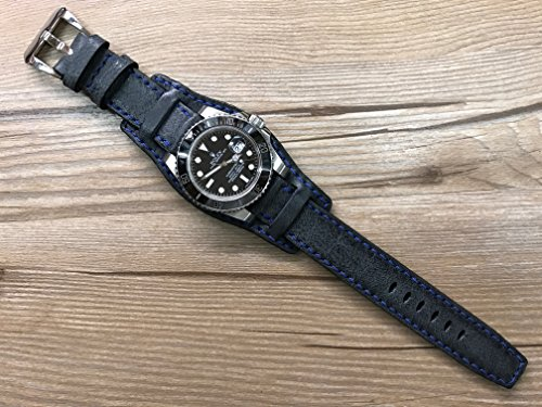 real-leather-cuff-watch-band-handmade-cuff-watch-band-vintage-black-watch-band-leather-cuff-watch-st