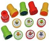 6 tlg. Set Lehrerstempel mit Stempelkissen - selbstfärbend - Fuchs Biene Frosch - Stempel hochwertig ! - Gut gemacht - Spitze - Mach weiter so - Sehr fleißig - Sehr schön - Probiere es nochmal