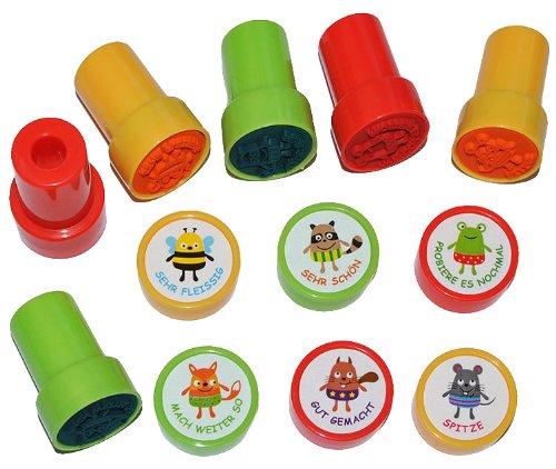 (6 tlg. Set Lehrerstempel mit Stempelkissen - selbstfärbend - Fuchs Biene Frosch - Stempel hochwertig ! - Gut gemacht - Spitze - Mach weiter so - Sehr fleißig - Sehr schön - Probiere es nochmal)