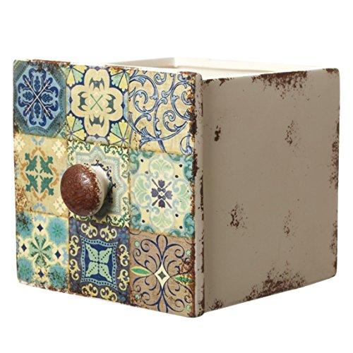 Unbekannt Bezaubernder, großer Übertopf Marokko in Form Einer Schublade - 17 x 15 x 14 cm -