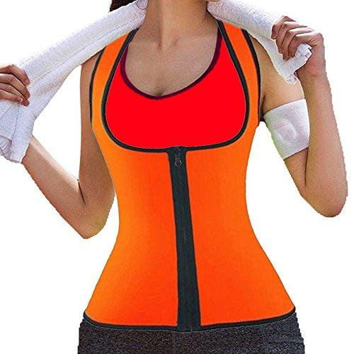 DODOING Damen Zipper Sport Neopren Abnehmen Fitnessgürtel Bauch Korsett Körper Shaper Kompressions Sweat Vest Hot Neopren Sauna Tank Top...