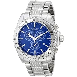 August Steiner Herren-Swiss Quarz Chronograph Blau Zifferblatt silberfarbenes Armband Armbanduhr