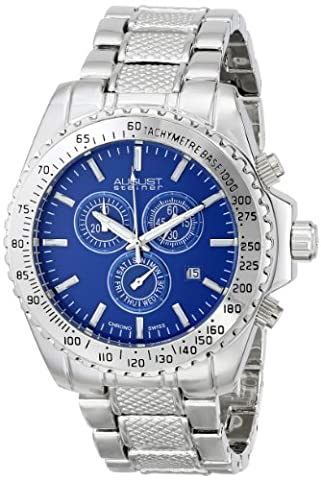 August Steiner Men's AS8104BU Swiss Quartz Chronograph Blue Dial Silver-tone Bracelet Watch