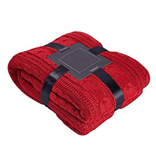 Alicemall Cozy Soft Cotton Acrylic Blend Knit Bed Throw Bed Blanket Sofa Blanket Outdoor Throw (red)