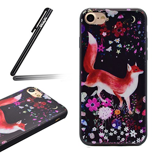 Coque Housse Etui pour iPhone 7/iPhone 8, iPhone 8 Coque en Silicone Cerfs flocon de neige de Noël Motif Etui, iPhone 7 Silicone Coque Housse Transparent Etui Gel Slim Case Soft Gel Cover, Ukayfe Etui Fleurs fox