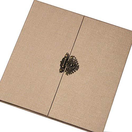 FOOHAO- Album photo avec double couverture, pages intérieures enduites auto-adhésives, album de bricolage fait à la main rétro, 20 pages (40 surface) (Couleur : A-White card, taille : Les petites)