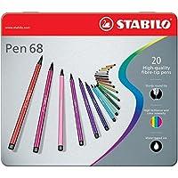 STABILO Pen 68 Pennarelli colori assortiti - Scatola in Metallo da 20