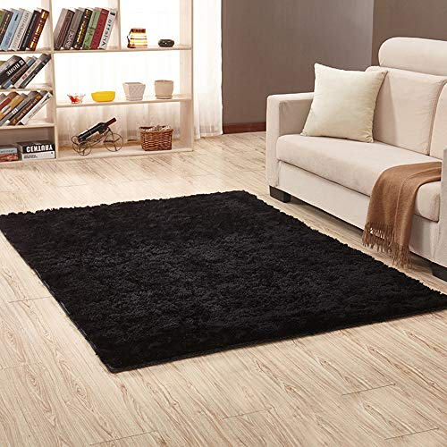 Inmozata - tappeto morbido a pelo lungo, ideale per soggiorno, camera da letto, 80 x 160 cm, colore: grigio, nero, 80x160cm