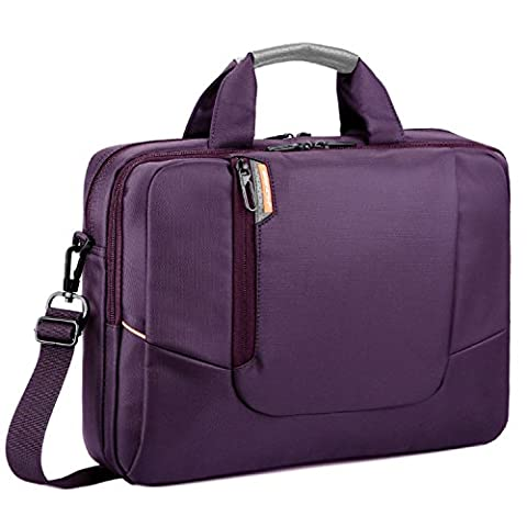 "Brinch Sacoche avec poignées et bandoulière amovible en nylon antichocs pour ordinateur portable MacBook/Notebook/Netbook/Chromebook/tablettes/ordinateurs Noir 17.3"" violet"