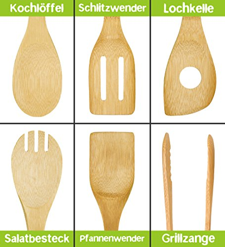 Nachhaltige Kuchenutensilien Aus Bambus 6er Kochbesteck Set Mit
