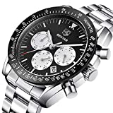 Orologio cronografo da uomo in acciaio INOX quadrante nero lusso impermeabile-Orologio da uomo