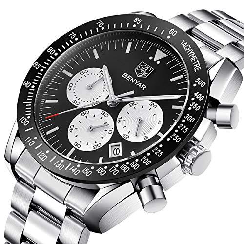 BENYAR Stilvolle Armbanduhr für Männer Schwarzes Zifferblatt 44mm Edelstahlgehäuse Quarzwerk 30M Wasserdicht
