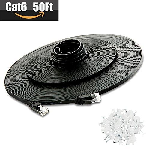 Cat 6Ethernet Kabel 50FT, (CAT5e Preis aber höhere Bandbreite) flach High Speed Internet LAN COMPUTER Netzwerk mit Snagless RJ45Stecker Patch Kabel für Xbox,, Router, Modem, Drucker, Patch Panel