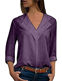 7a8042c67911ad NEEDRA Blouses Shirts Women V Neck Ladies Blouse Work Office Workwear Shirt  Silk Chic Long Sleeve