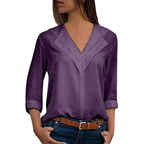 (TUDUZ Elegant Damen Chiffon Einfarbig V-Ausschnitt T-Shirt Plain Roll Ärmel Bluse Tops Tunika Oberteile (XXXXL,Lila))