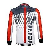 GWELL Herren Radtrikot Langarm Sportshirt Fahrradbekleidung Radsport Langarmshirt für Frühling und Herbst rot XL
