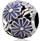 Diseño europeo margarita Soulbead 925 plata esterlina grano esmalte púrpura para 3 mm pulsera o brazalete