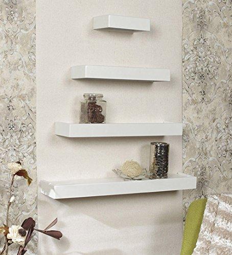 Onlineshoppee Beautiful Wooden White Rectangular Wooden Wall Shelf set of 4