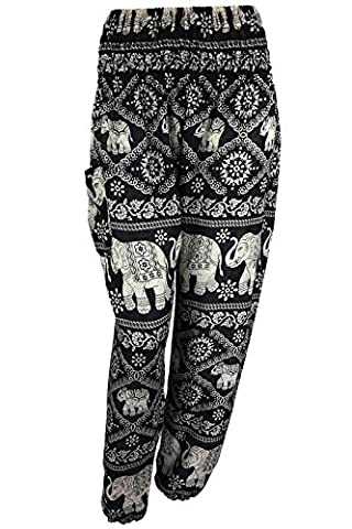 UK STOCK | 25 STYLES | Thai Hippie Hippy Boho Festival Harem Trousers Pants | Aladdin Alibaba Genie Elephant Loose Relaxed Fit | Beach Yoga Dance Maternity (Black Diamond Elephant (Smock