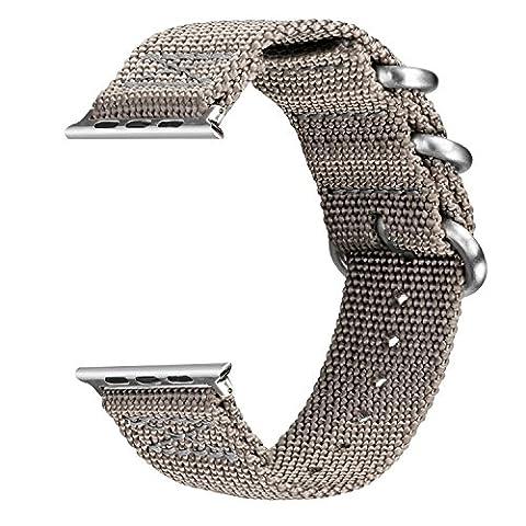 V-MORO Apple Watch Armband 42mm ,Woven Nylon Gurt Ersatz Handgelenk Uhrband Uhrenarmband Erstatzband Uhren-Armband für Apple Watch Series 2 und Series 1 Sport, Hermes, Nike+, Edition (Nylon Grey, 42mm)