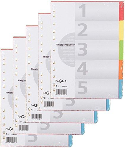 PAGNA KartonRegister, DIN A4, 5teilig, 5farbig