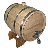 Bonpos Eichenfass für Wein auf einem Untergestell, 30L, mit Reifen aus Edelstahl