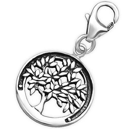 So chic gioielli - charm pendente con chiusura moschettone albero della vita argento sterling 925