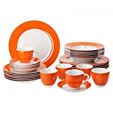 Van Well Kombiservice 30-tlg. für 6 Personen Serie Vario Porzellan - Farbe wählbar, Farbe:orange
